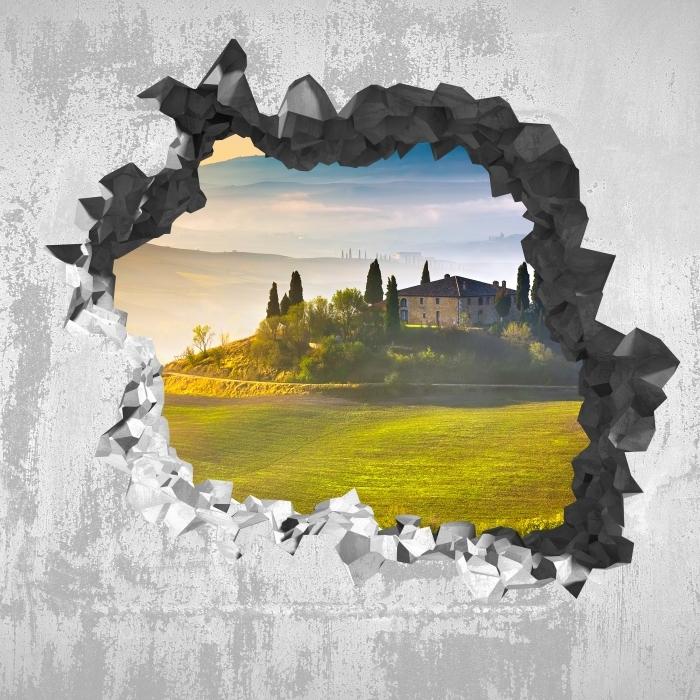 Fototapeta winylowa Dziura w ścianie - Toskania o świcie - Dziury w ścianie