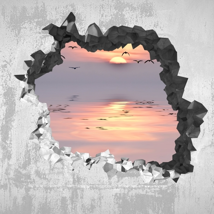 Papier peint vinyle Trou dans le mur - Coucher de soleil - Les trous dans le mur