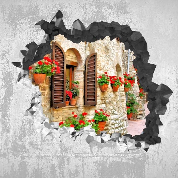 Vinyl-Fototapete Loch in der Wand - italienischer Berg - Durchbruch in der Wand