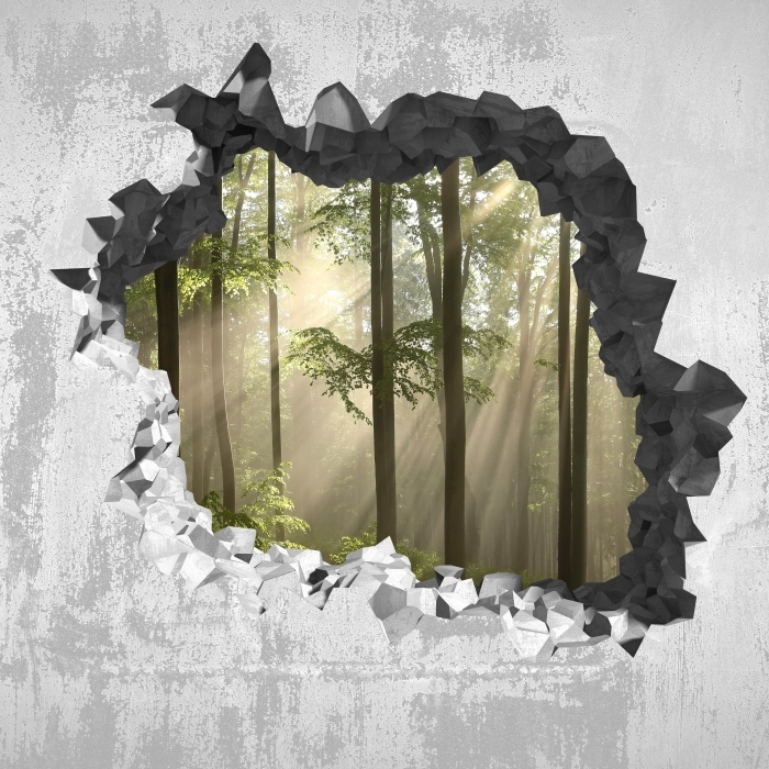 Papier peint vinyle Trou dans le mur - Foggy matin dans les bois - Les trous dans le mur