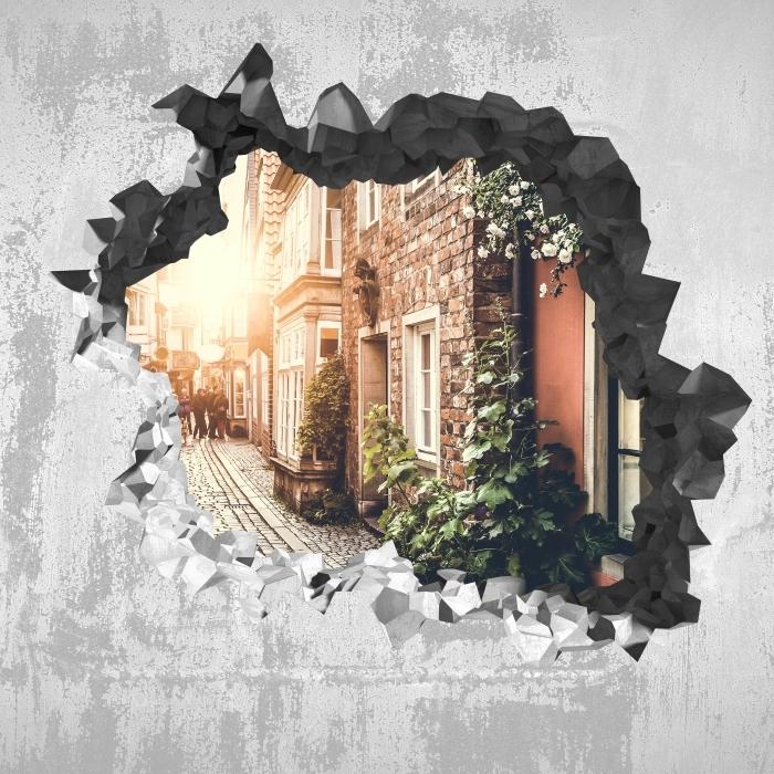 Vinyl-Fototapete Loch in der Wand - Alte Straßen - Durchbruch in der Wand