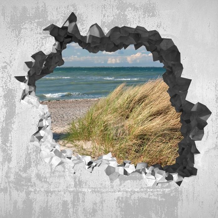 Fototapeta winylowa Dziura w ścianie - Morze - Dziury w ścianie