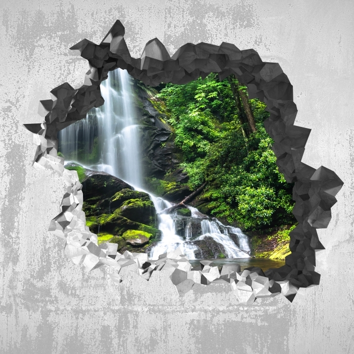 Hole in the wall - Waterfall in the forest Vinyl Wall Mural - Holes in the wall