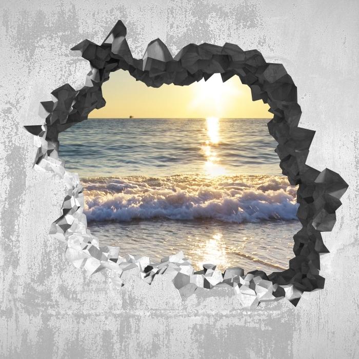 Fototapeta winylowa Dziura w ścianie - Lato nad morzem - Dziury w ścianie