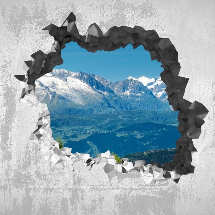 Fototapeta winylowa Dziura w ścianie - Panorama wysokich górach - Dziury w ścianie
