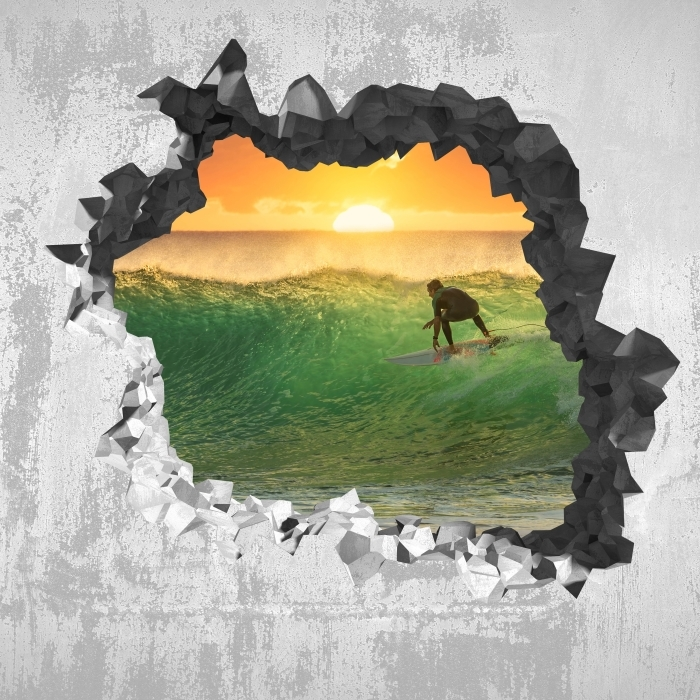 Vinyl-Fototapete Loch in der Wand - Surfen - Durchbruch in der Wand