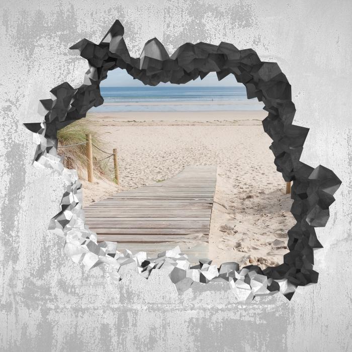 Fototapeta winylowa Dziura w ścianie - Plaża i morze - Dziury w ścianie