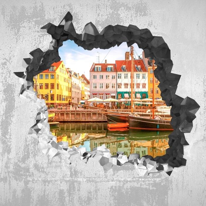 Fototapeta winylowa Dziura w ścianie - Kopenhaga - Dziury w ścianie