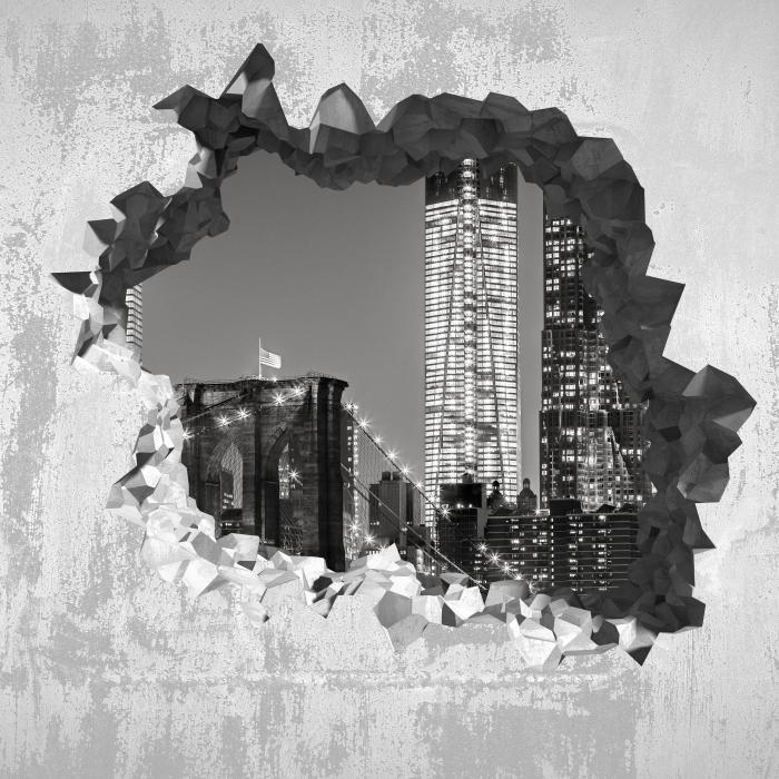 Papier peint vinyle Trou dans le mur - de New York la nuit. Le pont de Brooklyn. - Les trous dans le mur