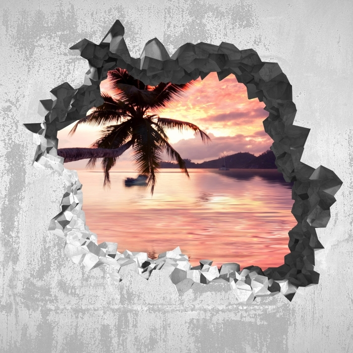Papier peint vinyle Trou dans le mur - Mer - Les trous dans le mur