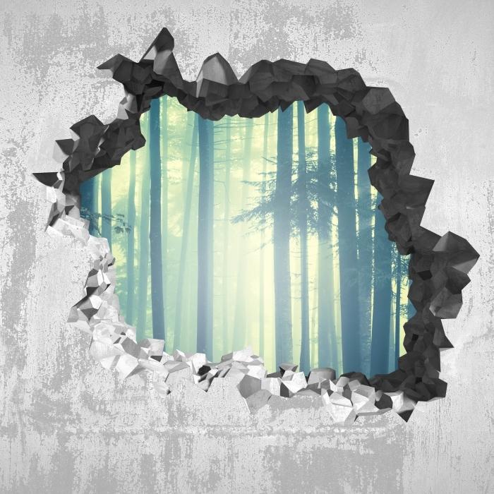 Vinyl-Fototapete Loch in der Wand - nebelige Landschaft. Slowenien. - Durchbruch in der Wand
