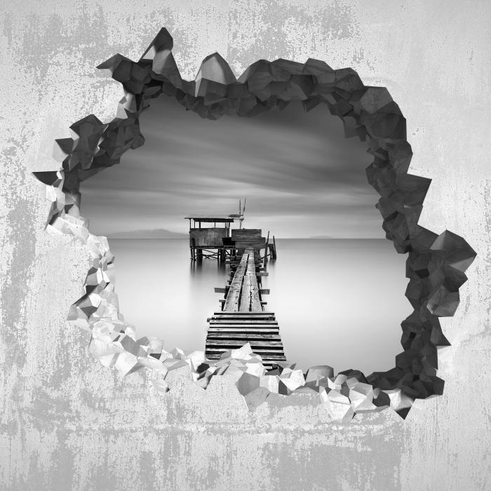 Fototapeta winylowa Dziura w ścianie - Drewniane molo - Dziury w ścianie