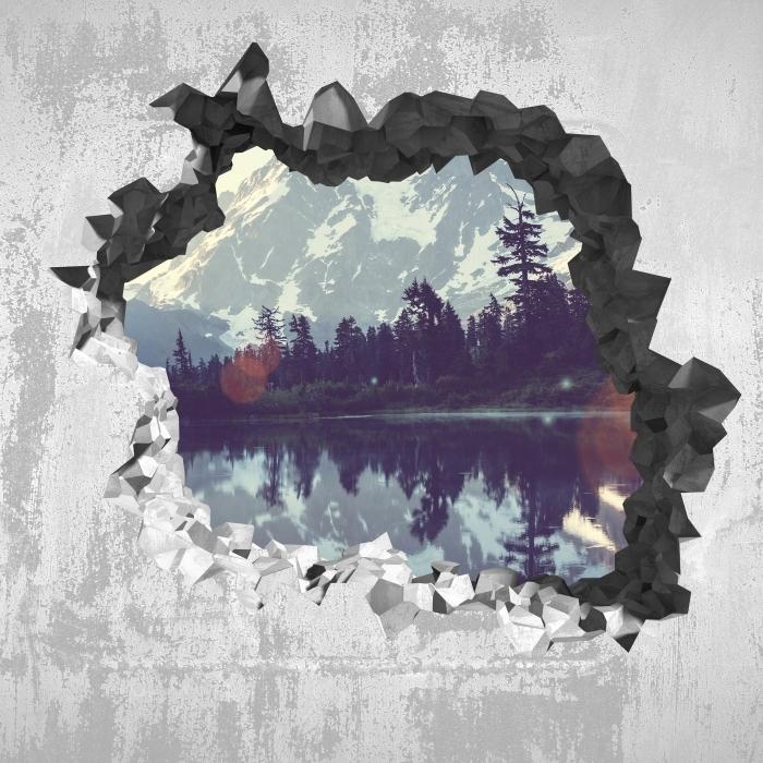 Vinyl-Fototapete Loch in der Wand - See - Durchbruch in der Wand