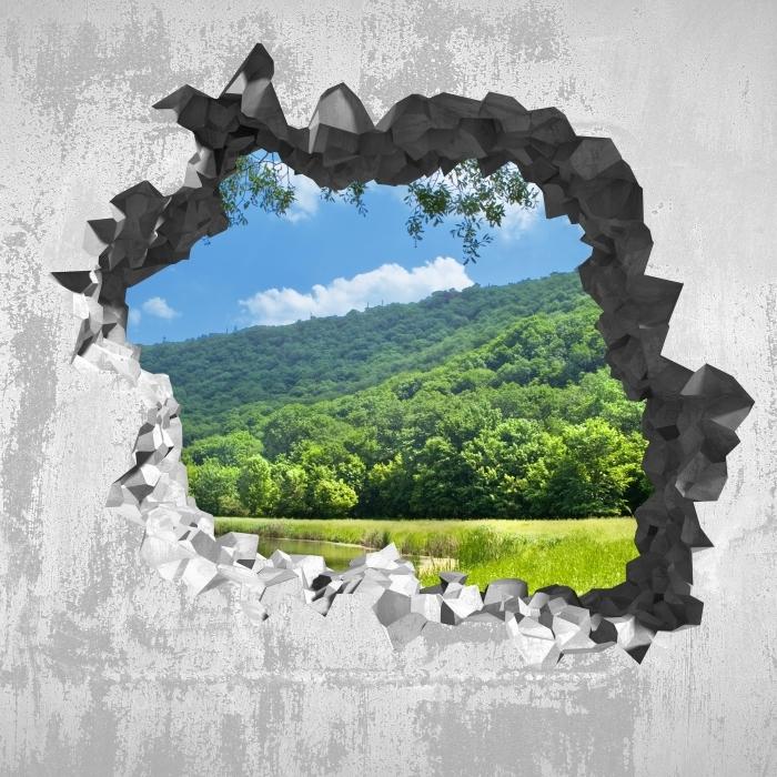 Fototapeta winylowa Dziura w ścianie - Rzeka - Dziury w ścianie