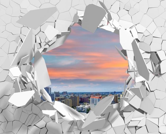 Vinyl-Fototapete Loch in der Wand - Luftaufnahme - Durchbruch in der Wand