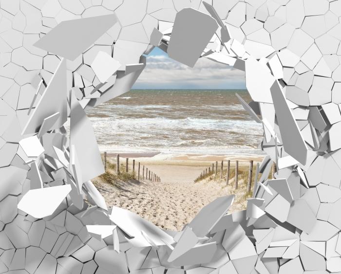 Fototapeta winylowa Dziura w ścianie - Piasek na plaży w słoneczny dzień - Dziury w ścianie