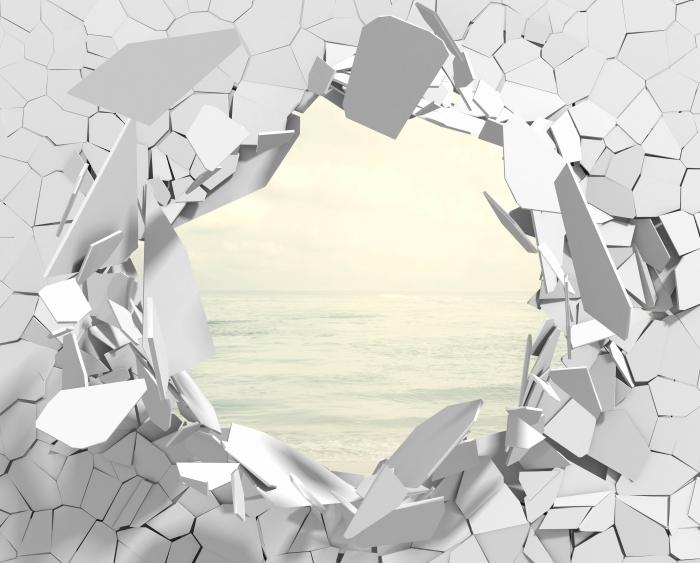 Fototapeta winylowa Dziura w ścianie - Plaża w lecie - Dziury w ścianie
