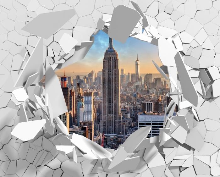Fototapeta winylowa Dziura w ścianie - Nowy Jork - Dziury w ścianie