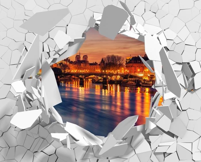 Vinyl-Fototapete Loch in der Wand - Paris - Durchbruch in der Wand