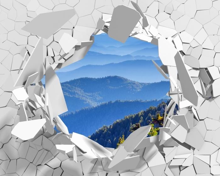 Vinyl-Fototapete Loch in der Wand - Berg - Durchbruch in der Wand