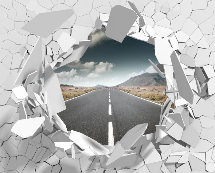 Fototapeta winylowa Dziura w ścianie - Droga przez pustynię. - Dziury w ścianie