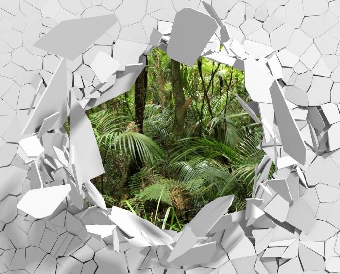 Vinyl-Fototapete Loch in der Wand - Tropischer Wald - Durchbruch in der Wand