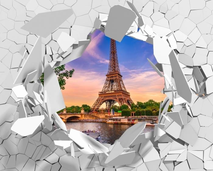 Fototapeta winylowa Dziura w ścianie - Paryż i Wieża Eiffla - Dziury w ścianie