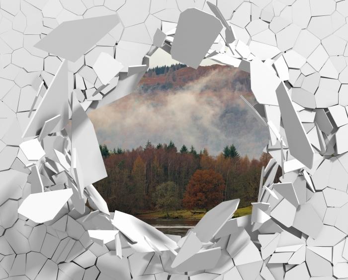 Vinyl-Fototapete Loch in der Wand - Lake District - Durchbruch in der Wand