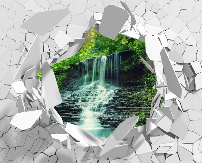Vinyl-Fototapete Loch in der Wand - Wasserfall - Durchbruch in der Wand