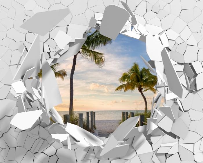 Papier peint vinyle Trou dans le mur - Panorama - Les trous dans le mur