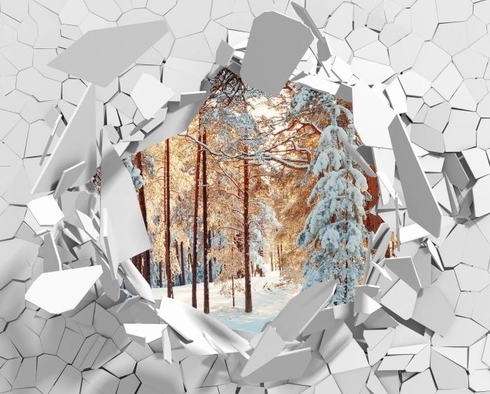 Vinyl-Fototapete Loch in der Wand - Kiefern mit Schnee bedeckt - Durchbruch in der Wand