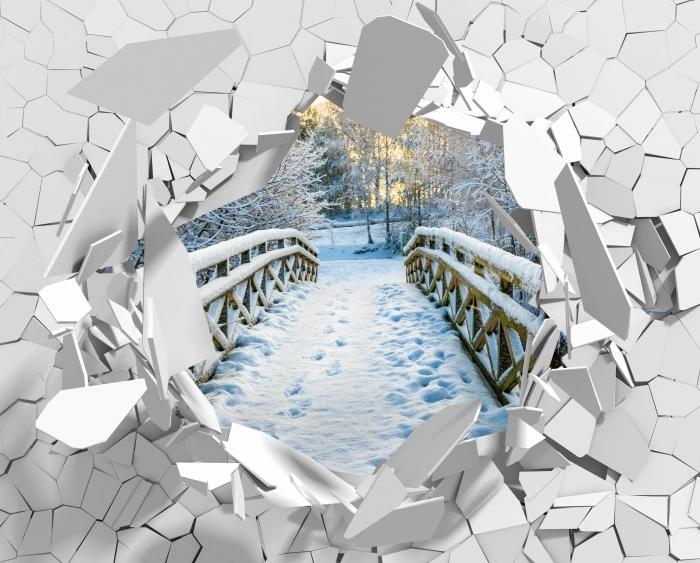 Fototapeta winylowa Dziura w ścianie - Zimowy most - Dziury w ścianie