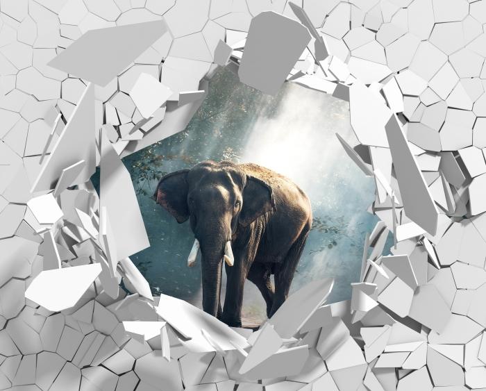 Vinyl-Fototapete Loch in der Wand - Elefanten im Wald - Durchbruch in der Wand