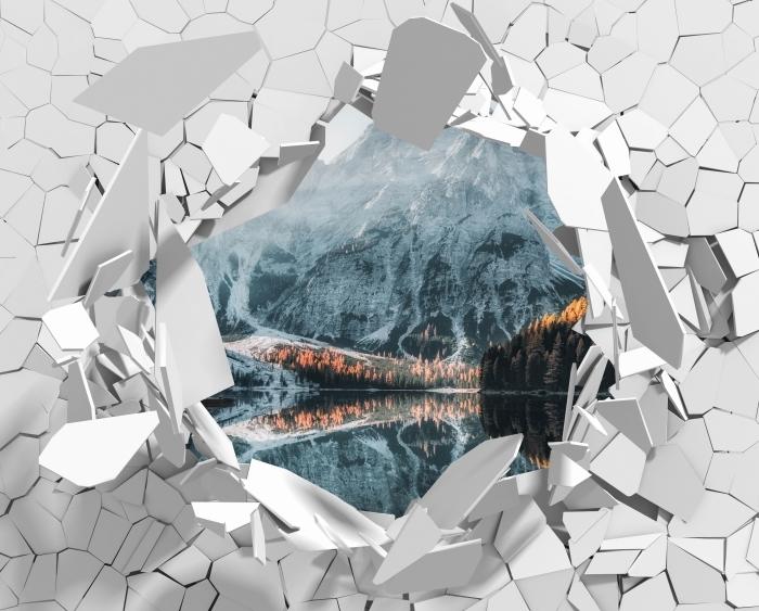 Papier peint vinyle Trou dans le mur - bateaux. Montagnes Dolomites - Les trous dans le mur
