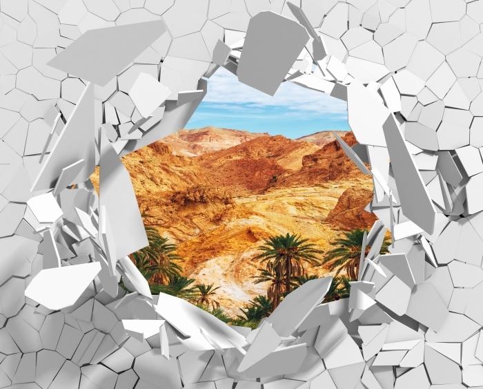 Fototapeta winylowa Dziura w ścianie - Górskie oazy - Dziury w ścianie