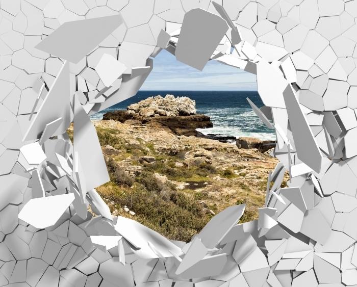 Fototapeta winylowa Dziura w ścianie - Nad morzem. - Dziury w ścianie