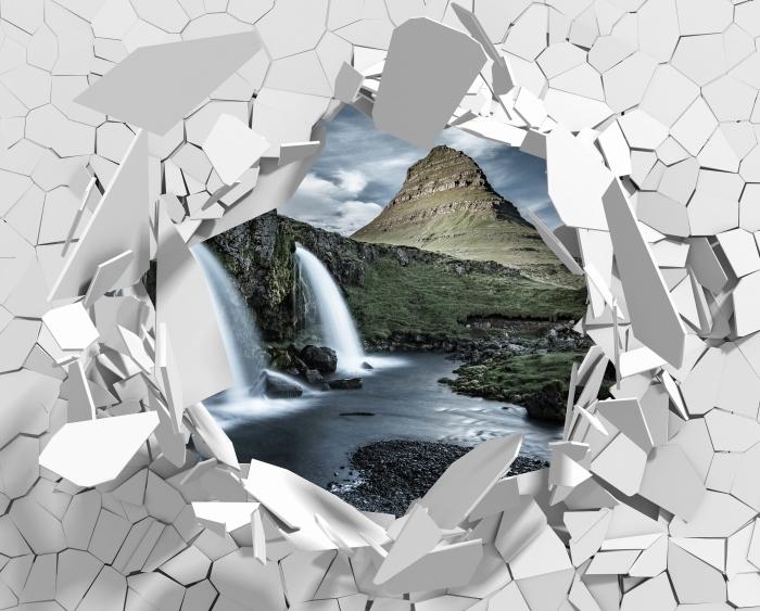 Fototapeta winylowa Dziura w ścianie - Wodospad. Islandia. - Dziury w ścianie