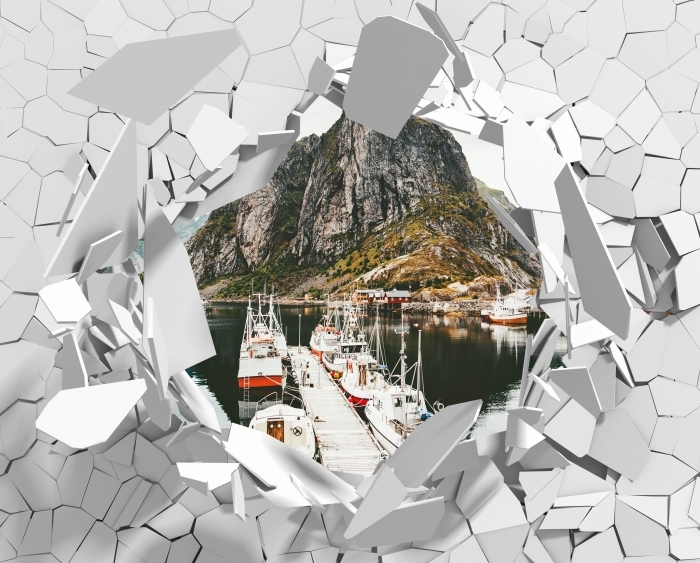 Papier peint vinyle Trou dans le mur - Paysage. Norvège - Les trous dans le mur