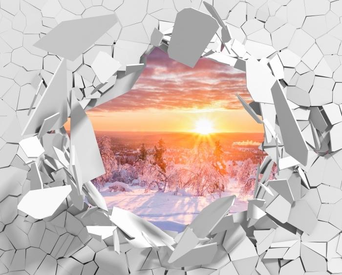 Fototapeta winylowa Dziura w ścianie - Skandynawia. Krajobraz o zachodzie słońca - Dziury w ścianie