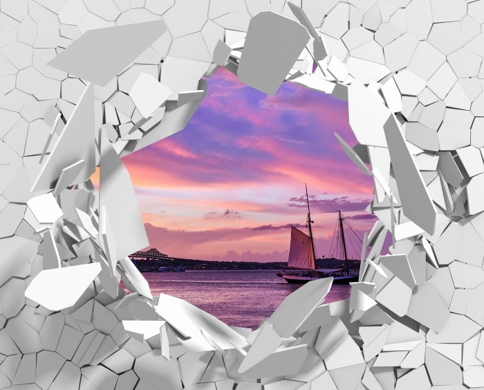 Vinyl-Fototapete Loch in der Wand - Erstaunlicher Sonnenuntergang am Hafen von Boston - Durchbruch in der Wand