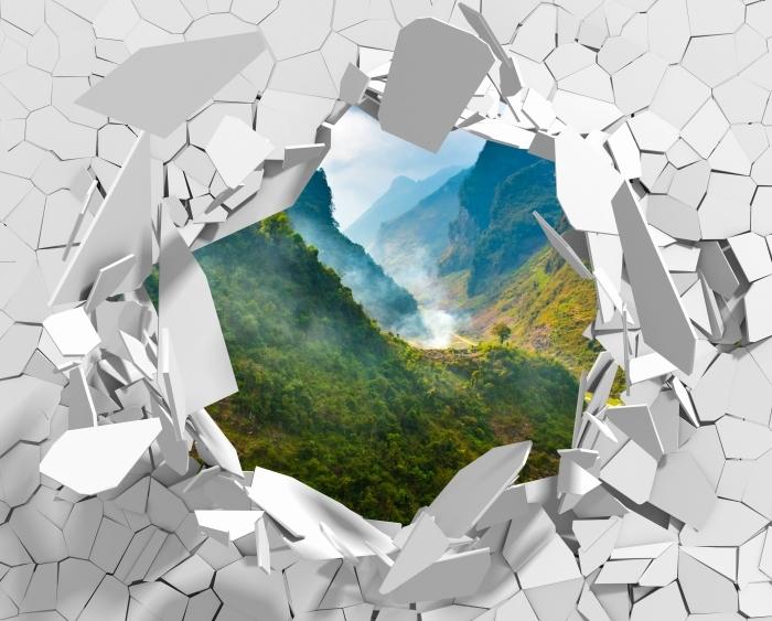 Fototapeta winylowa Dziura w ścianie - Ha Giang. Wietnam. - Dziury w ścianie