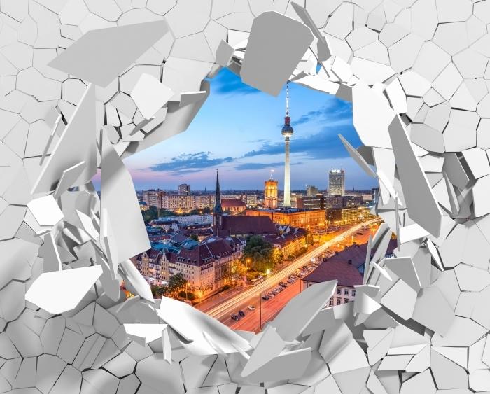 Vinyl-Fototapete Loch in der Wand - Blick auf Berlin - Durchbruch in der Wand