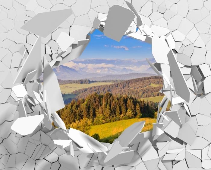 Papier peint vinyle Trou dans le mur - Pieniny. Pologne. - Les trous dans le mur