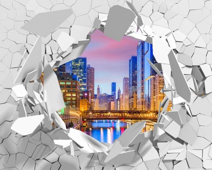 Fototapeta winylowa Dziura w ścianie - Chicago, Illinois, USA. - Dziury w ścianie
