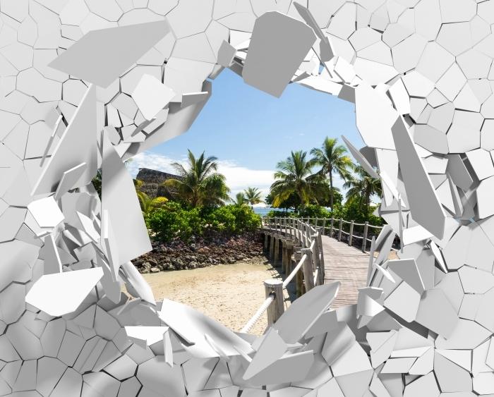 Vinyl-Fototapete Loch in der Wand - entlang der Brücke - Durchbruch in der Wand