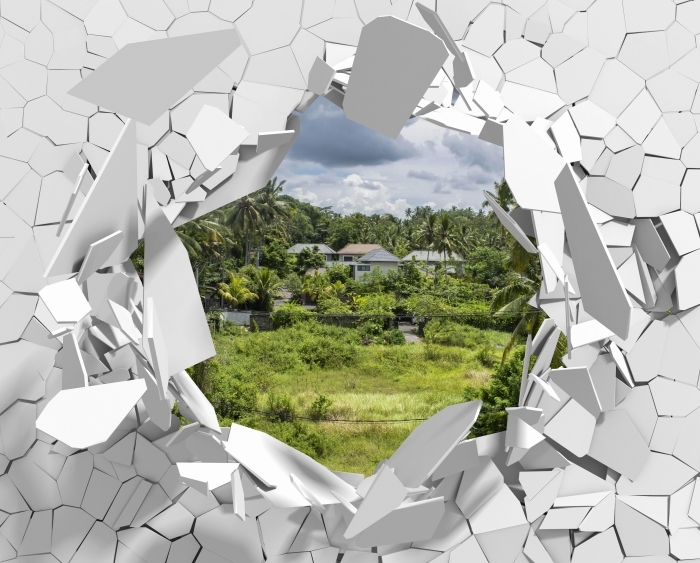 Vinyl-Fototapete Loch in der Wand - Reisfeld - Durchbruch in der Wand