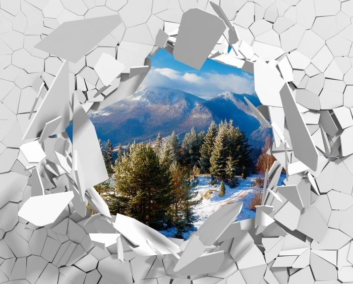 Vinyl-Fototapete Loch in der Wand - Verschneite Landschaft - Durchbruch in der Wand