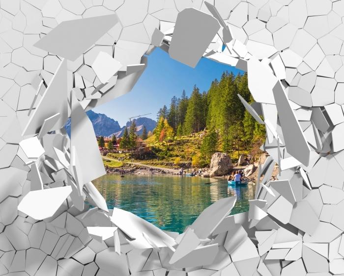 Vinyl-Fototapete Loch in der Wand - blauer See. Schweiz. - Durchbruch in der Wand
