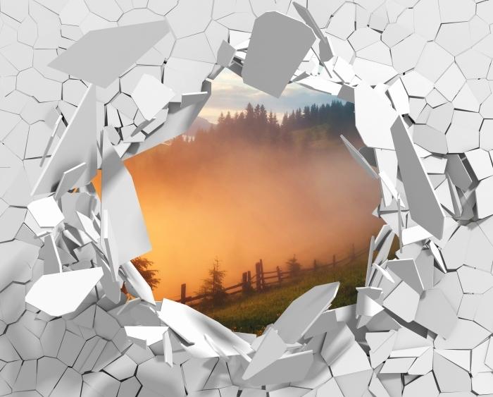 Vinyl-Fototapete Loch in der Wand - Gebirgstal während des Sonnenaufgangs - Durchbruch in der Wand