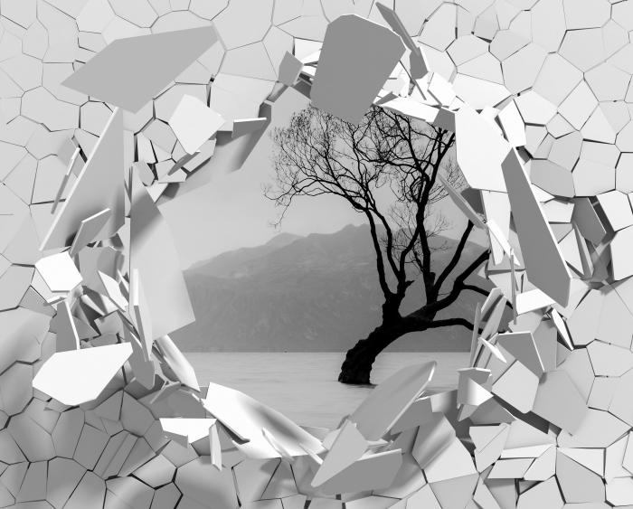 Vinyl-Fototapete Loch in der Wand - Landschaft. Neuseeland - Durchbruch in der Wand